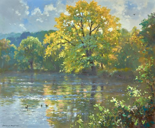 Autumn Reflections by James Preston - Original Painting on Stretched Canvas